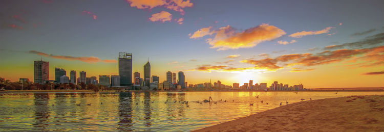 The skyline of Perth in Western Australia