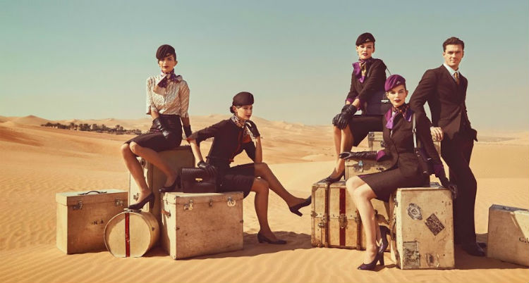 The cabin crew of Etihad Airways