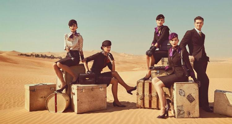 The cabin crew of Etihad Airways