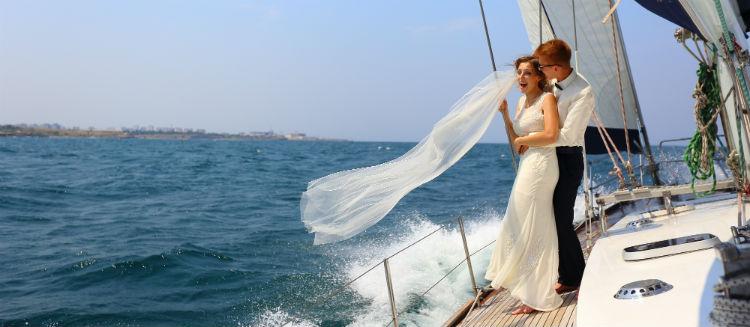 Newlyweds enjoying their cruise