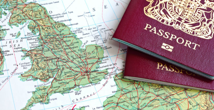 UK passport on a map of Europe