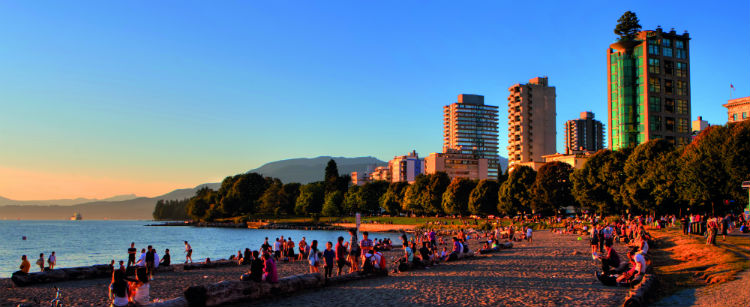 The Vancouver skyline and beach at sunset