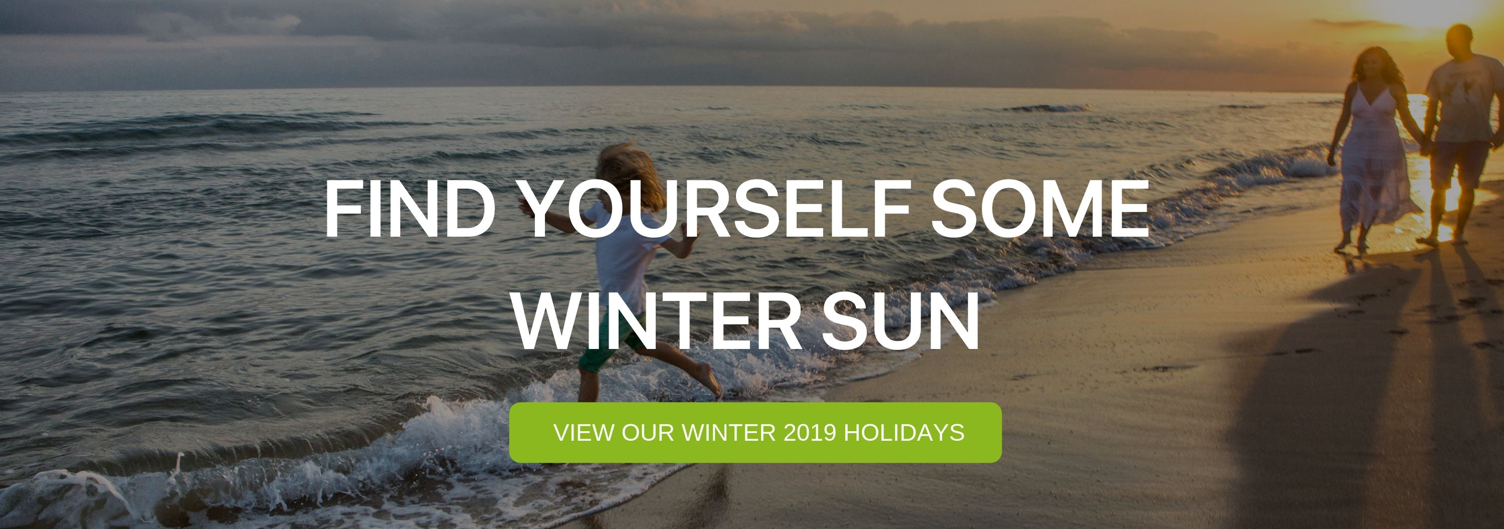 "A banner that says ""Find yourself some winter sun"""