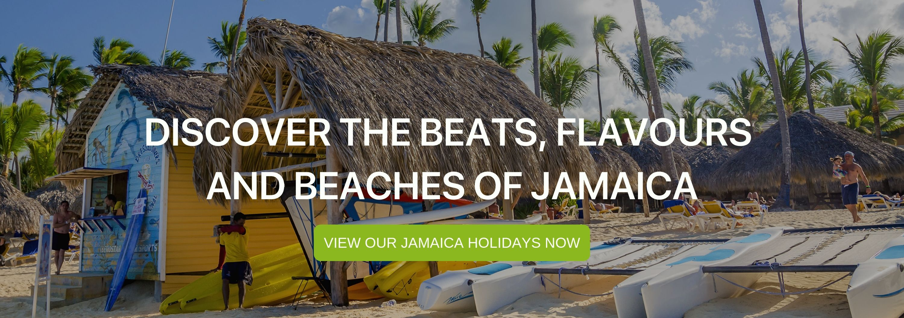 "A banner that says ""Discover the beats,. flavours, and beaches of Jamaica"""