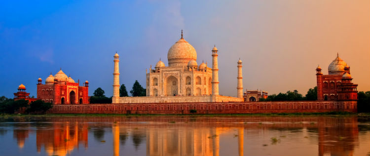 The Taj Mahal in India at sunset