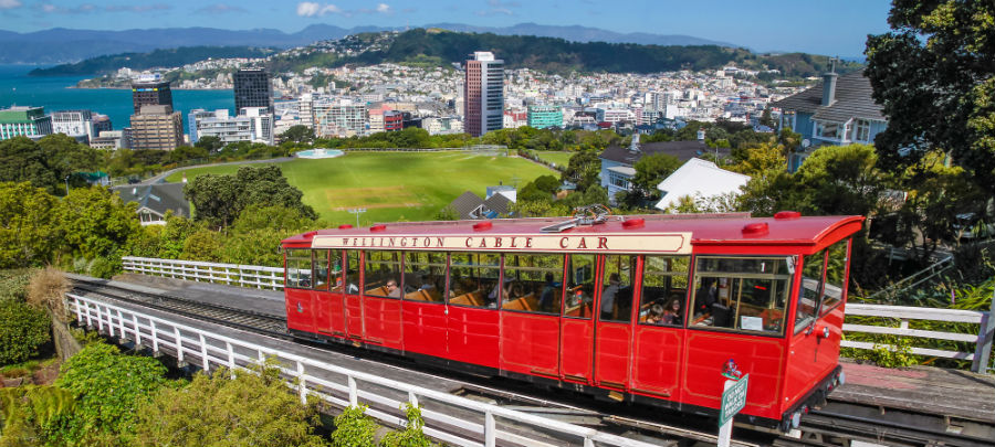 A Cable Car overlooking the city of Wellington, New Zealand