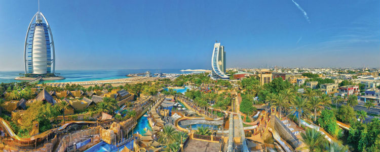 Wild Wadi Waterpark Dubai taken from a high heigfht with the Arabian Gulf in the background