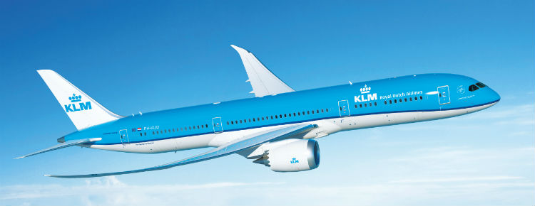 A KLM Dreamliner in the sky