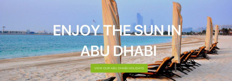 "A banner image that reads ""Enjoy the Sun in Abu Dhabi"""