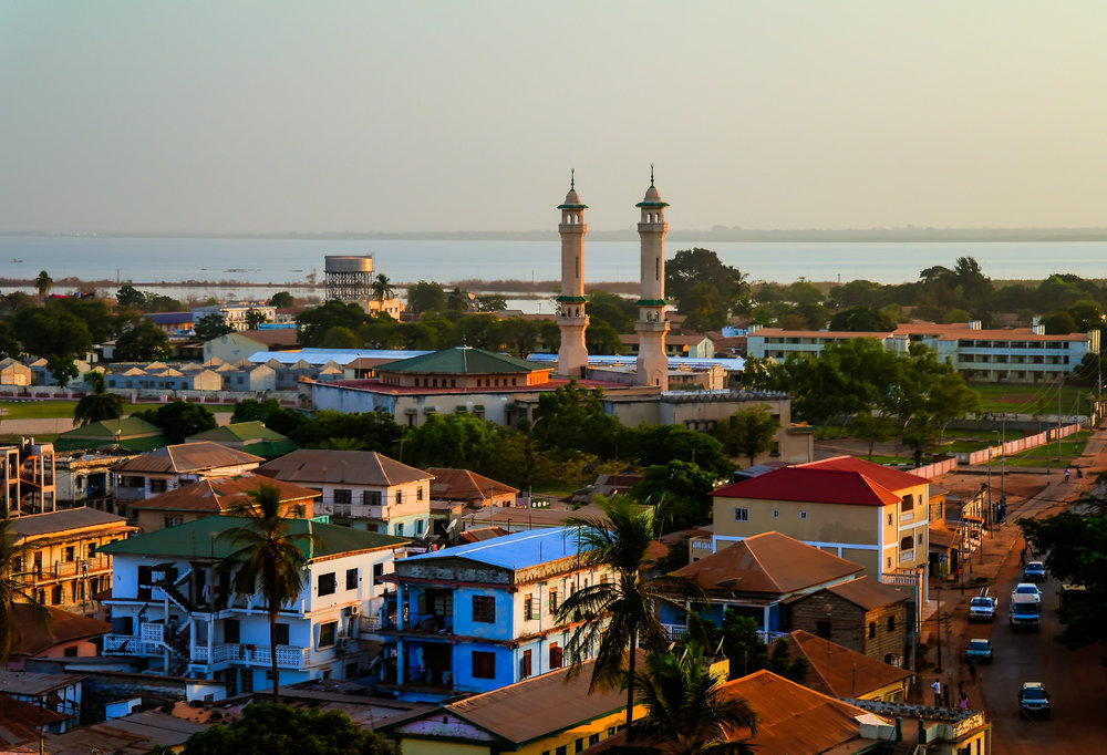 the skyline of gambia with sea in the background.