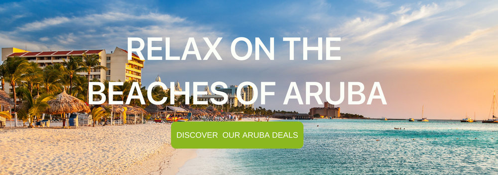 "A banner that says ""Relax on the Beaches of Aruba"""