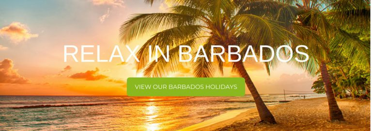 """A banner that says """"Relax in Barbados"""""""