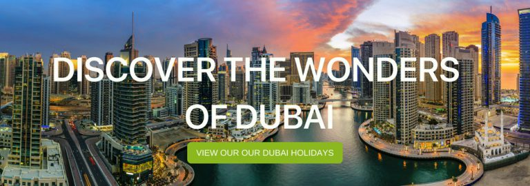 "A banner that says ""Discover the Wonders of Dubai"""