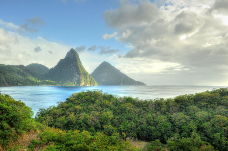 A seaview of the St Lucia coastline