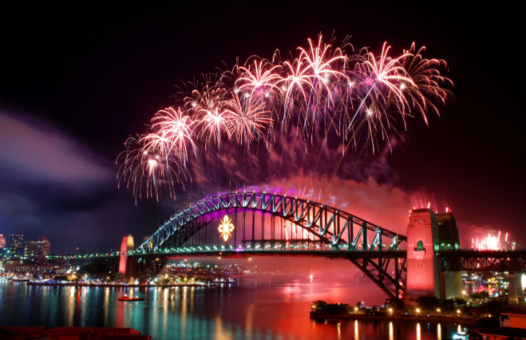 Sydney Harbour Bridge and fireworks.jpg