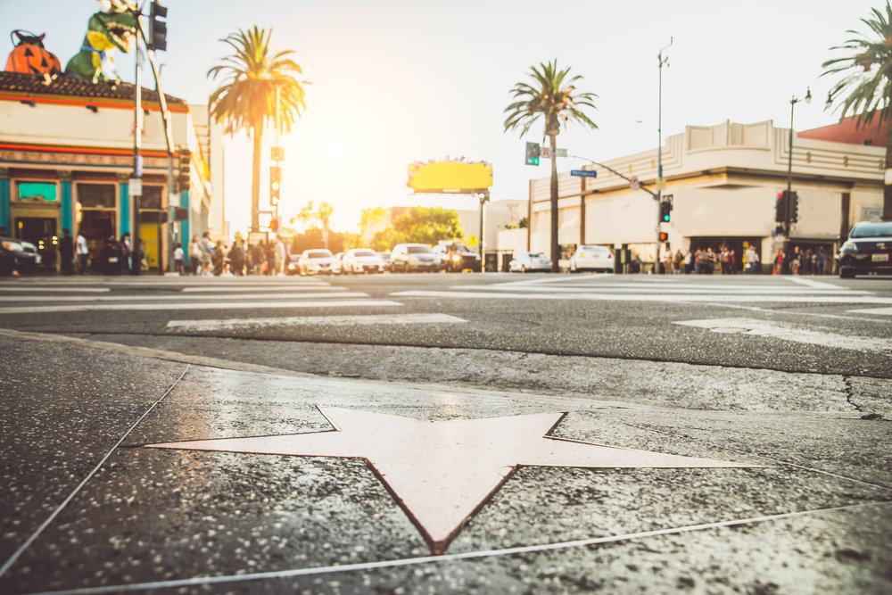 A star on the Hollywood Walk of Fame at sunset