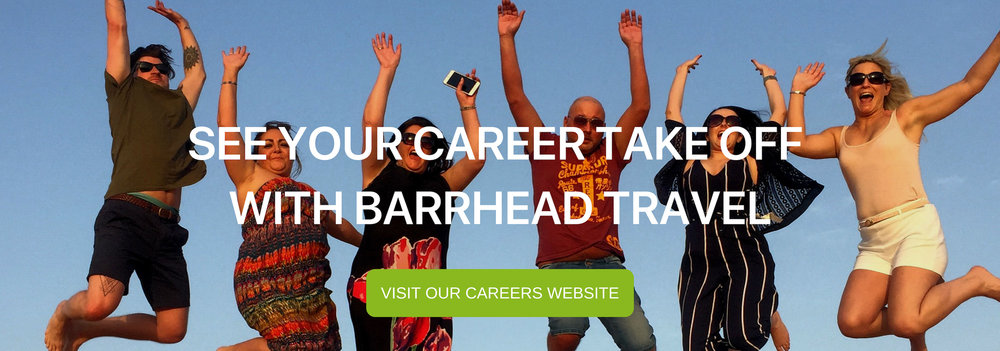 "A clickable banner that reads ""See your career take off with Barrhead Travel"""