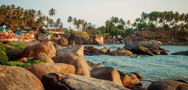 A rocky beach in Goa