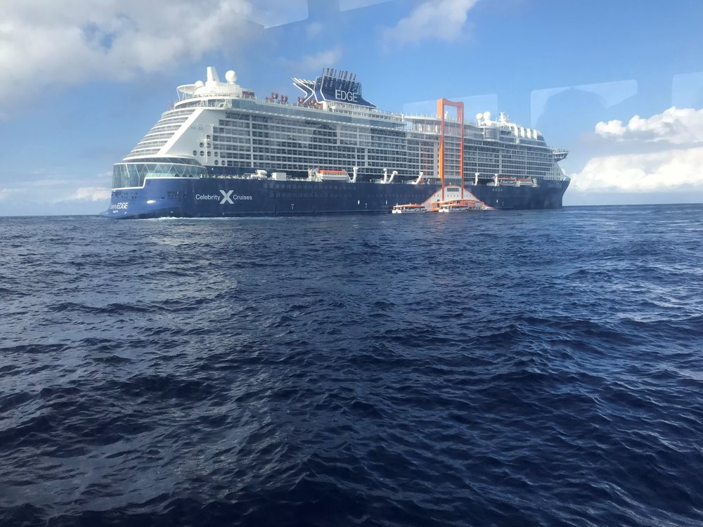 The Celebrity EDGE coming into shore.