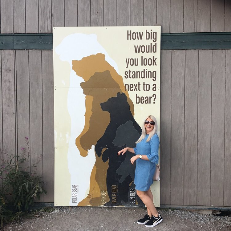 Megan standing next to a sign that shows how tall she is compared to the different bear types.