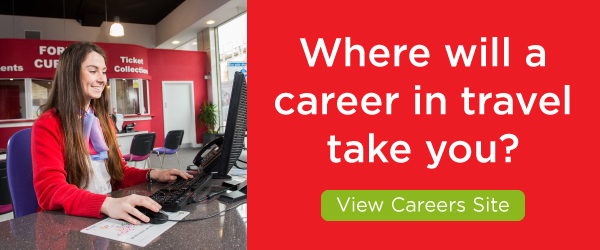 "A banner that says ""Where will a career in travel take you?"""