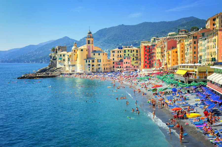 Colourful buildings along the coast in Genoa Italy