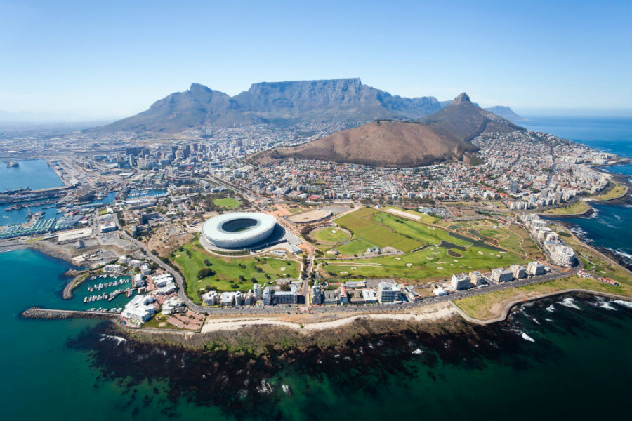 Cape Town South Africa from above with the football stadium in full view.