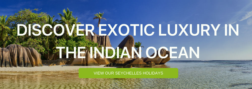 "A banner that says ""Discover the Exotic Luxury of the Indian Ocean"""