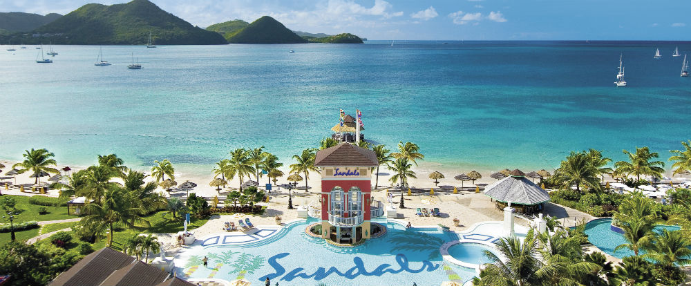 the pool area of a Sandals Resort in the Caribbean