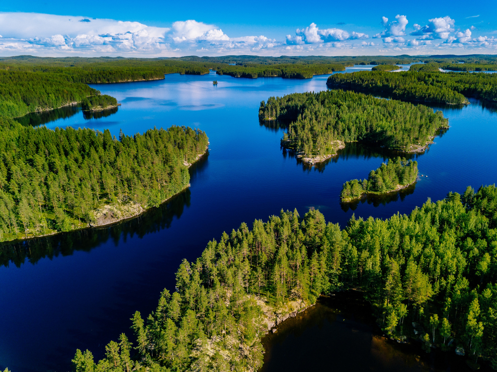 Blue lake in Finland punctuated by evergreen trees during the daytime.