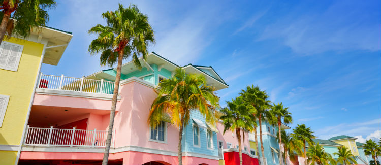 A row of pastel houses in Fort Myers & Sanibel