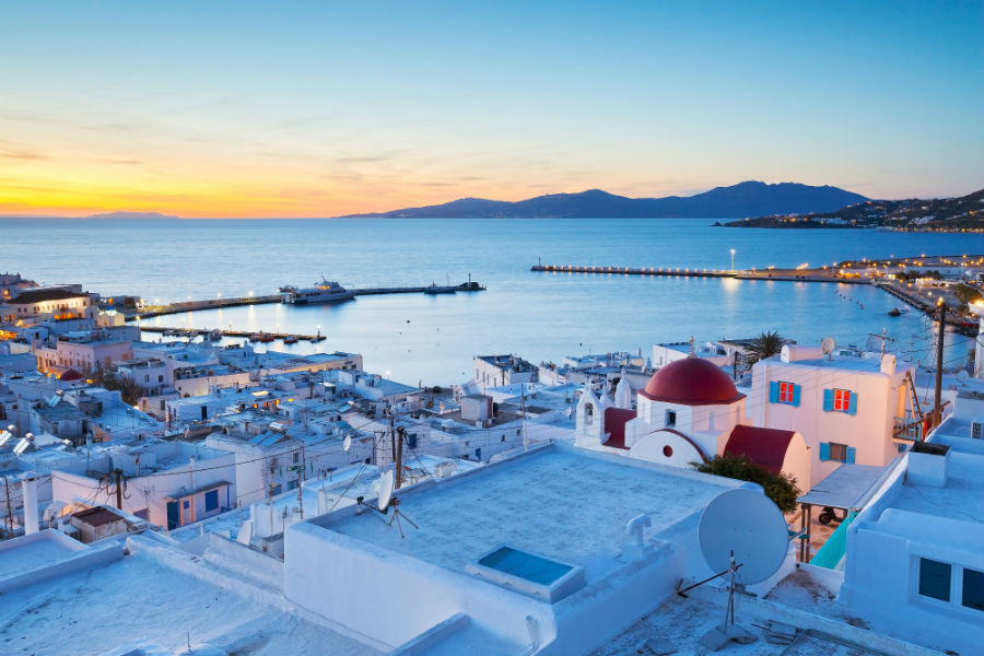 The Mykonos skyline at sunset