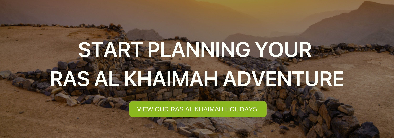 "A banner that reads ""Start Planning your Ras Al Khaimah Adventure"""