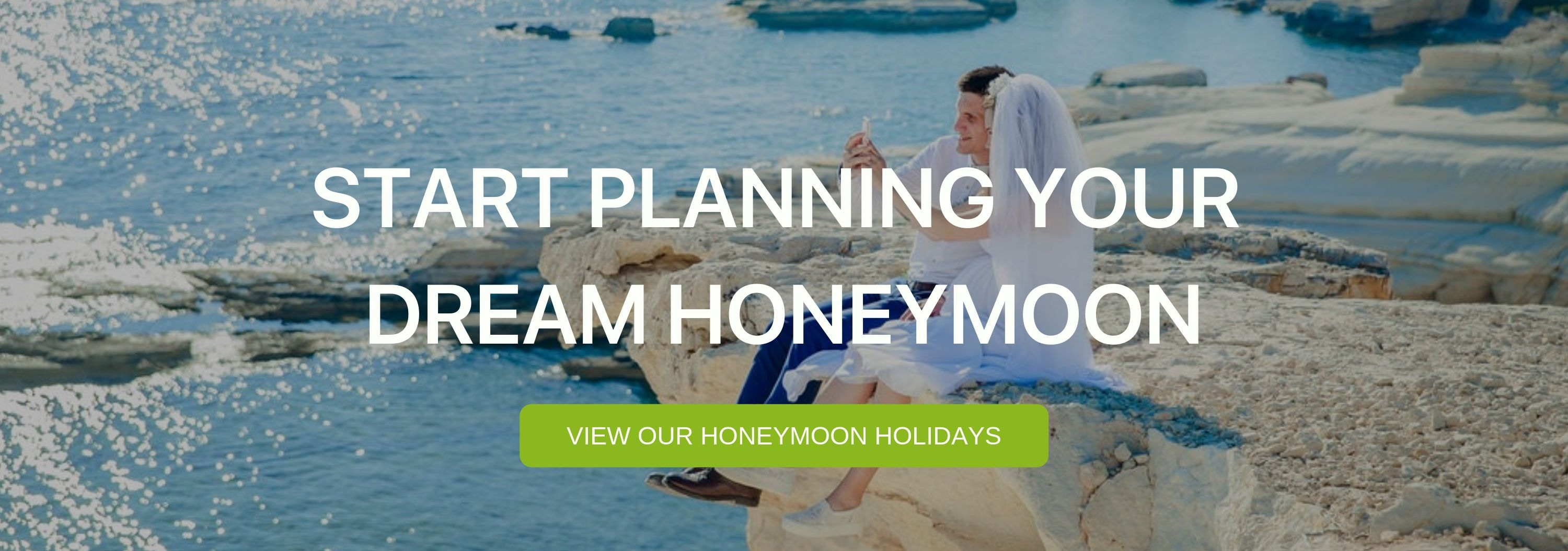 "A banner that reads ""Start Planning your Dream Honeymoon"""