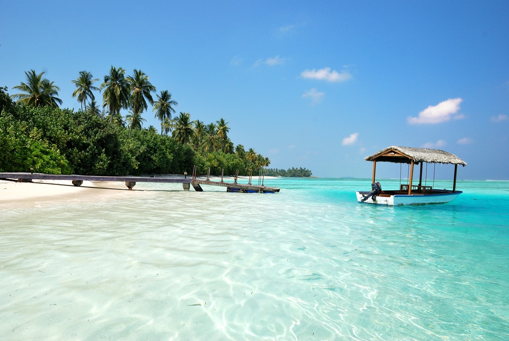 A Maldives beach that is empty and sunny