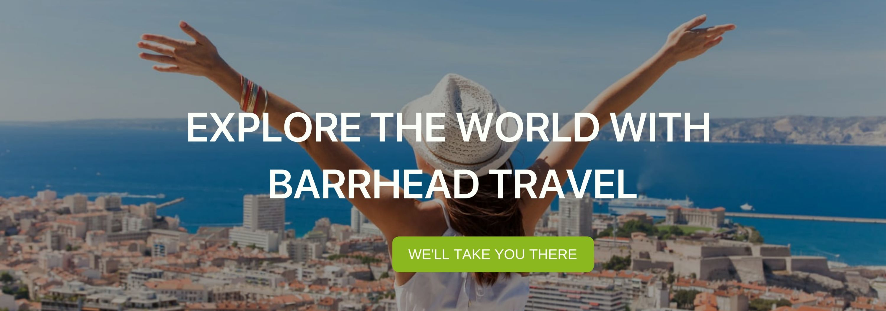"A banner that says ""Explore the World with Barrhead Travel"""