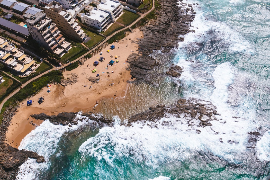 A bird's eye view of Durban's rocky coastline