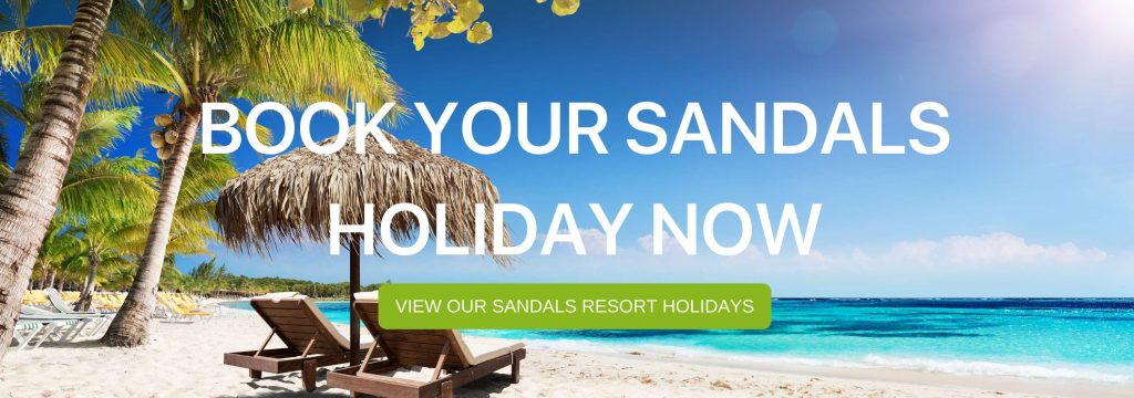 "A banner that says ""Book your Sandals holiday now"""