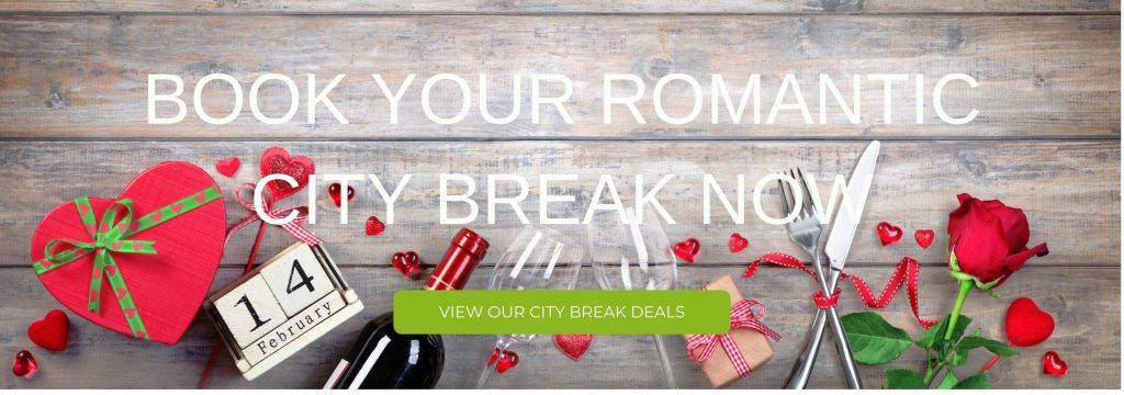 """A picture that says, """"Book your romantic city break now"""""""